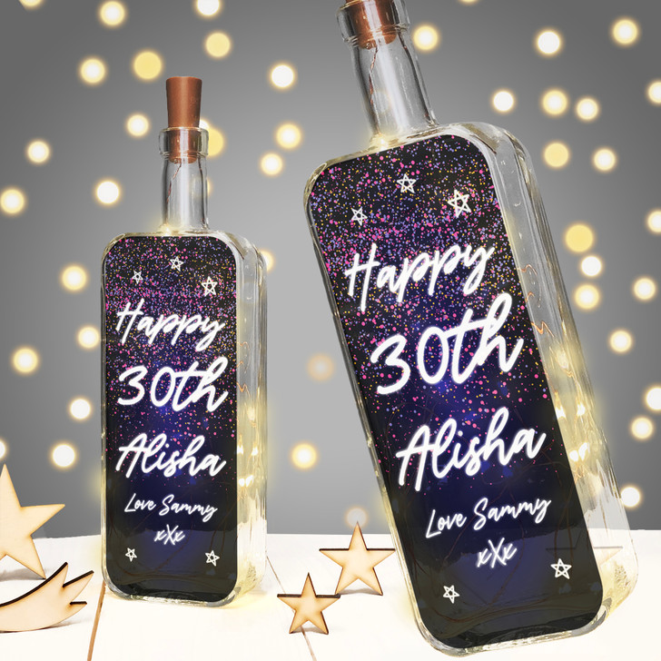 Personalised Light Up Bottle Milestone Birthday Gift - 16th 18th 21st 25th 30th 35th 40th 45th 50th 60th 70th