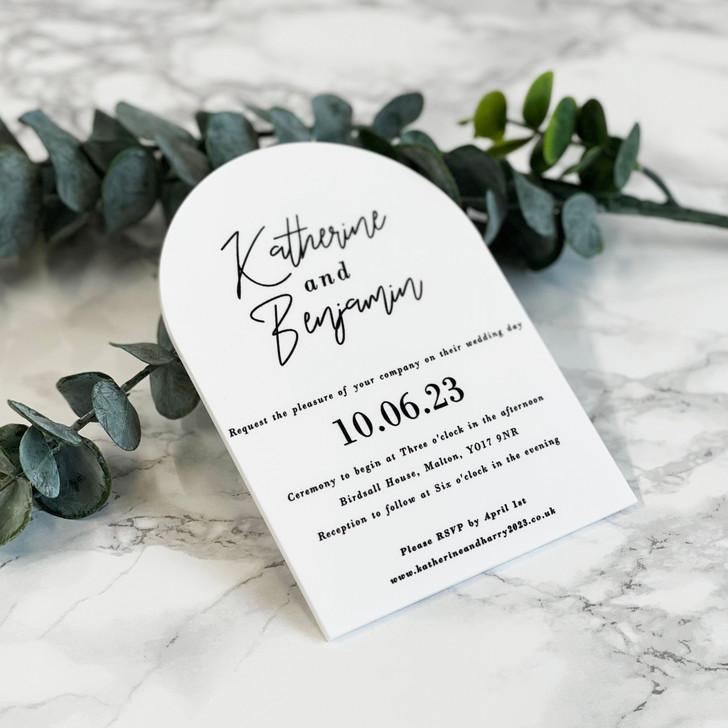 Modern Acrylic Domed A6 Wedding Invitation