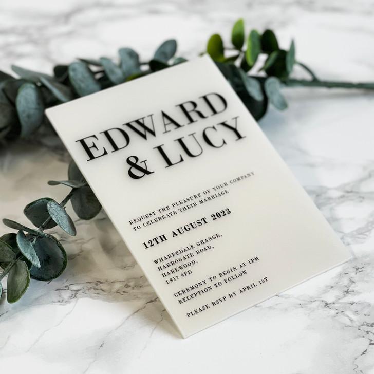 Elegant Modern A6 Acrylic Wedding Invitation