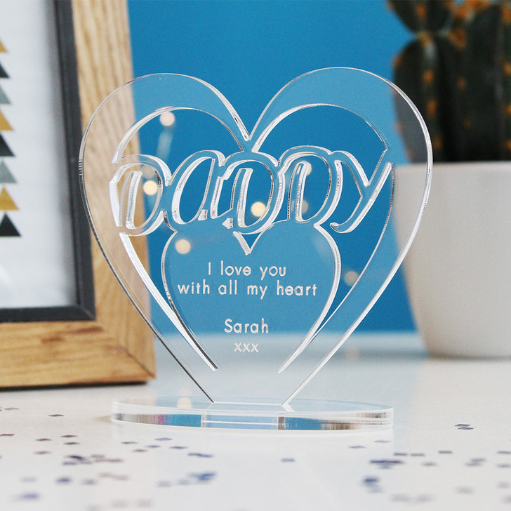 DADDY Personalised Birthday HEART Plaque Gift For Him Keepsake Ornament Christmas Present
