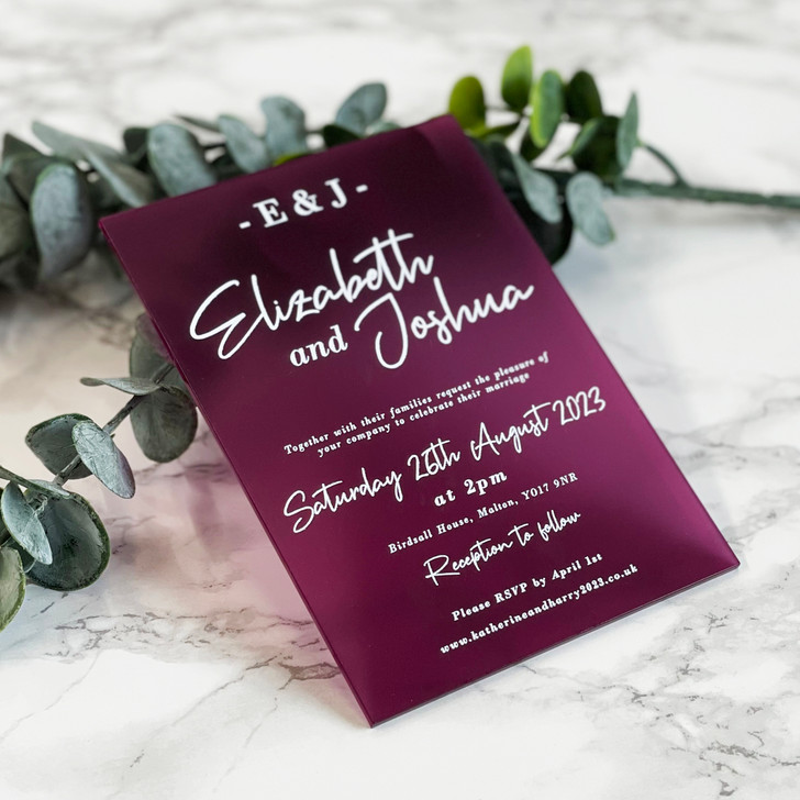 Beautiful A6 Acrylic Wedding Invite