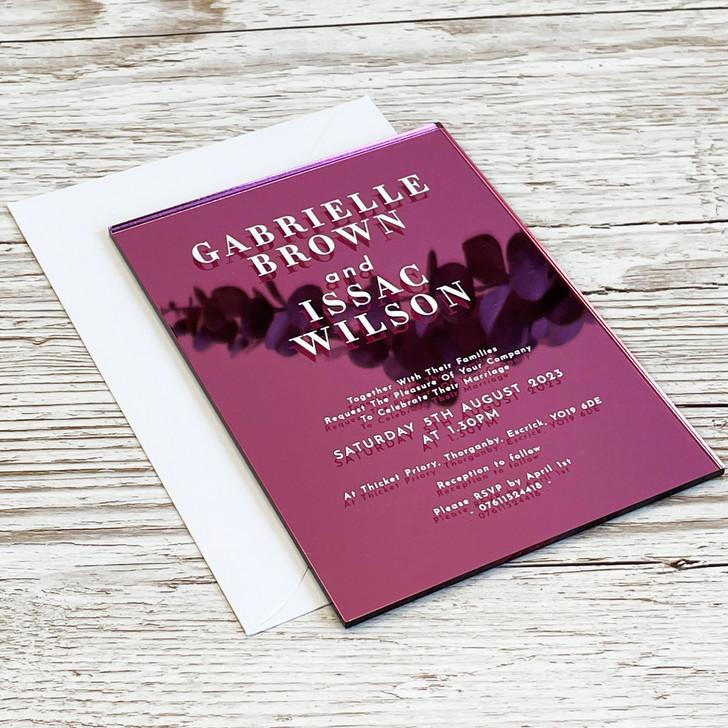 Stylish Modern A6 Acrylic Wedding Invitation