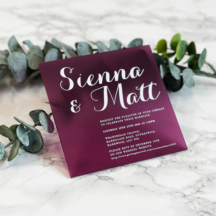 Modern Elegant Square Acrylic Wedding Invite