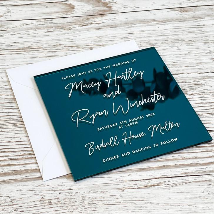 Luxury Trendy Square Acrylic Wedding Invitation