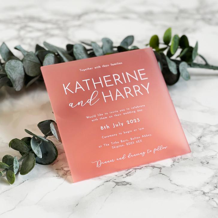 Stylish Modern Square Acrylic Wedding Invite