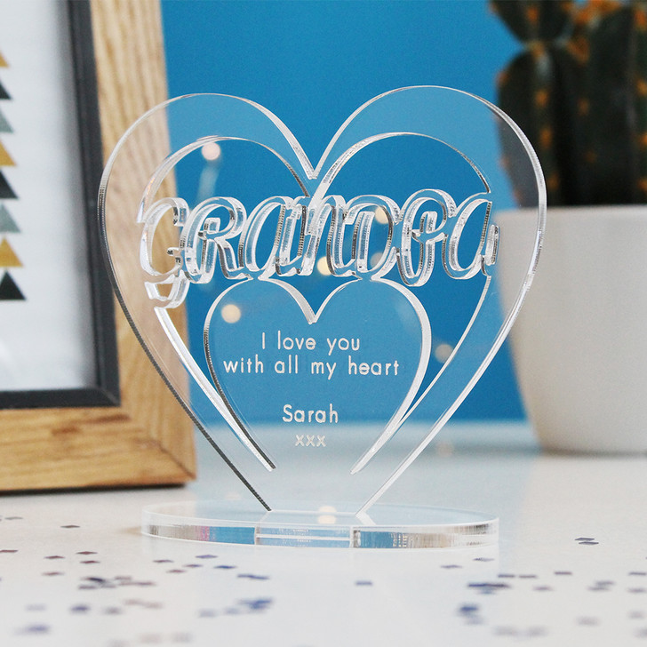 GRANDPA Personalised Birthday HEART Plaque Gift For Him Keepsake Ornament Christmas Present
