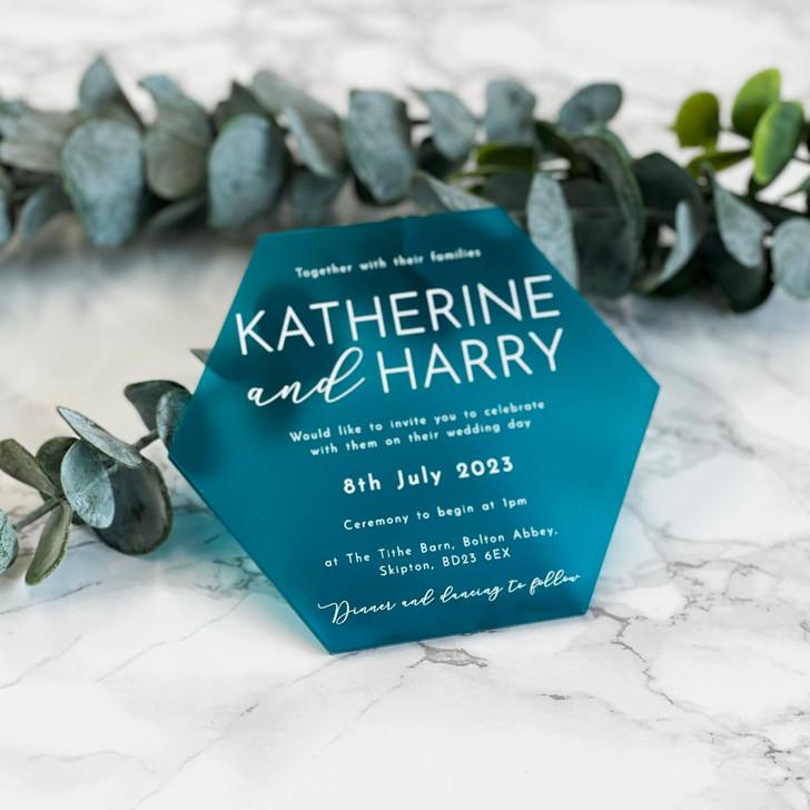 Luxury Modern Hexagon Acrylic Wedding Invitation