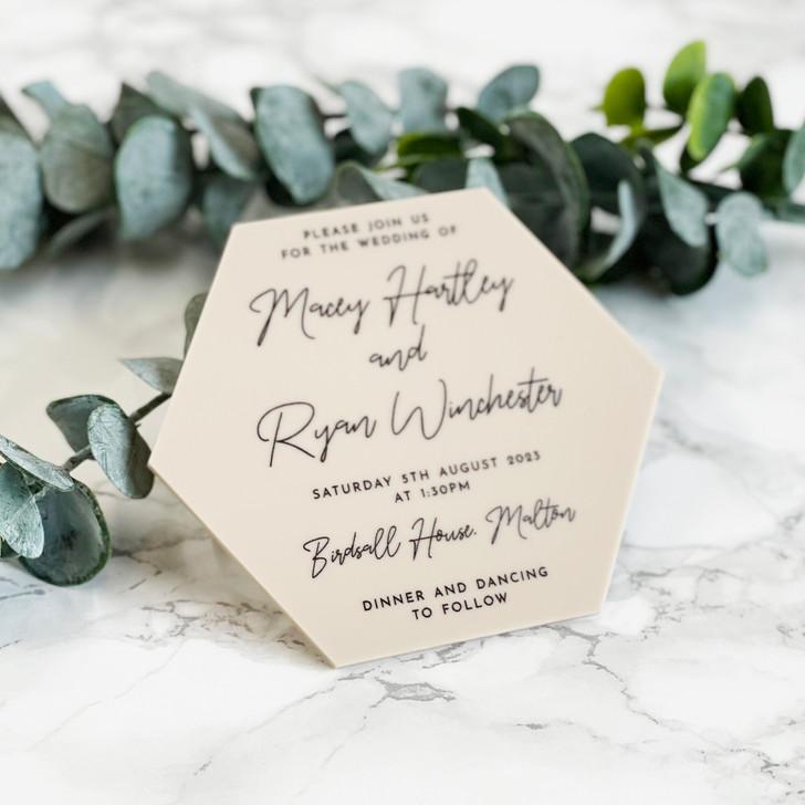 Modern Elegant Hexagon Acrylic Wedding Invitation