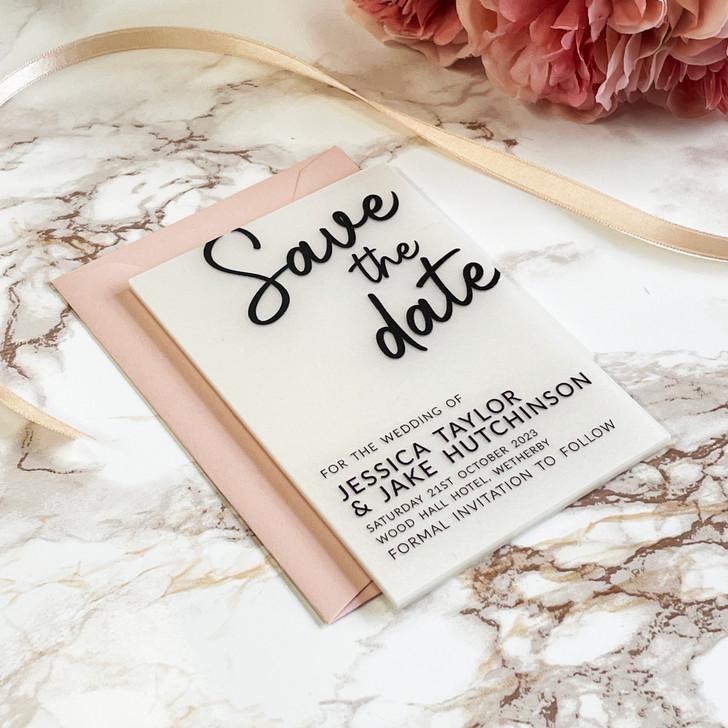 Personalised Modern Acrylic Wedding Save the Dates