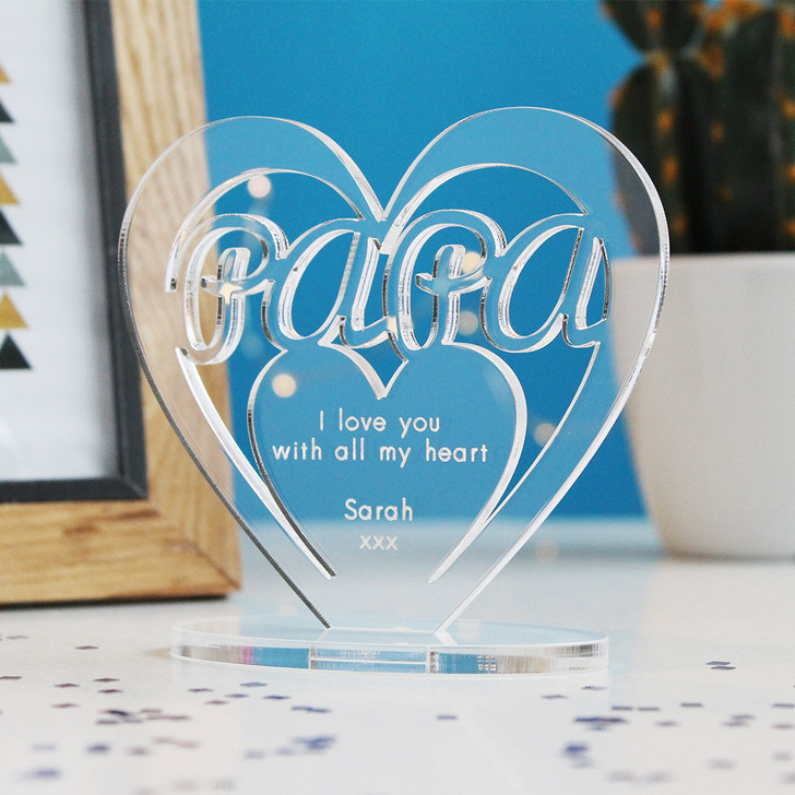 Papa Heart Ornament - Personalise With Any Message