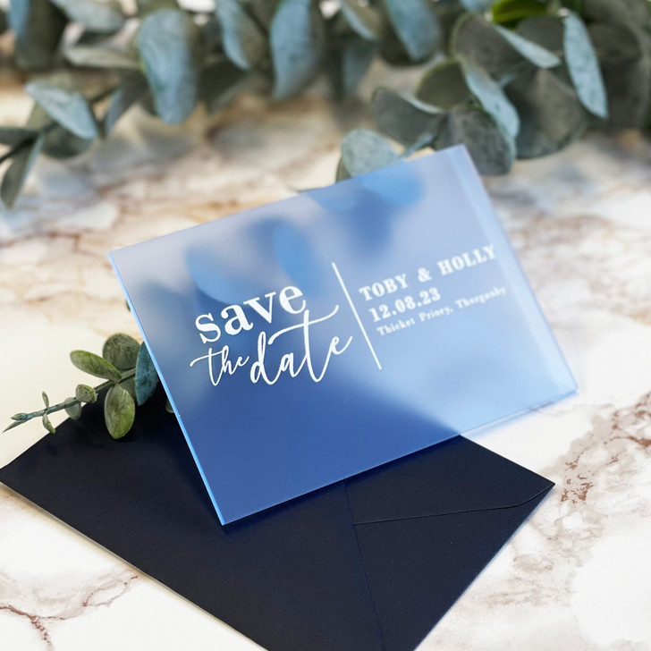 Personalised Modern Acrylic Save the Date Cards