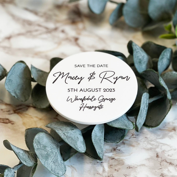 Luxury Acrylic Circle Save the Date Magnets