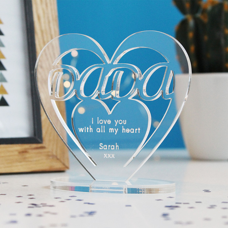 DADA Personalised Birthday HEART Plaque Gift For Him Keepsake Ornament Christmas Present