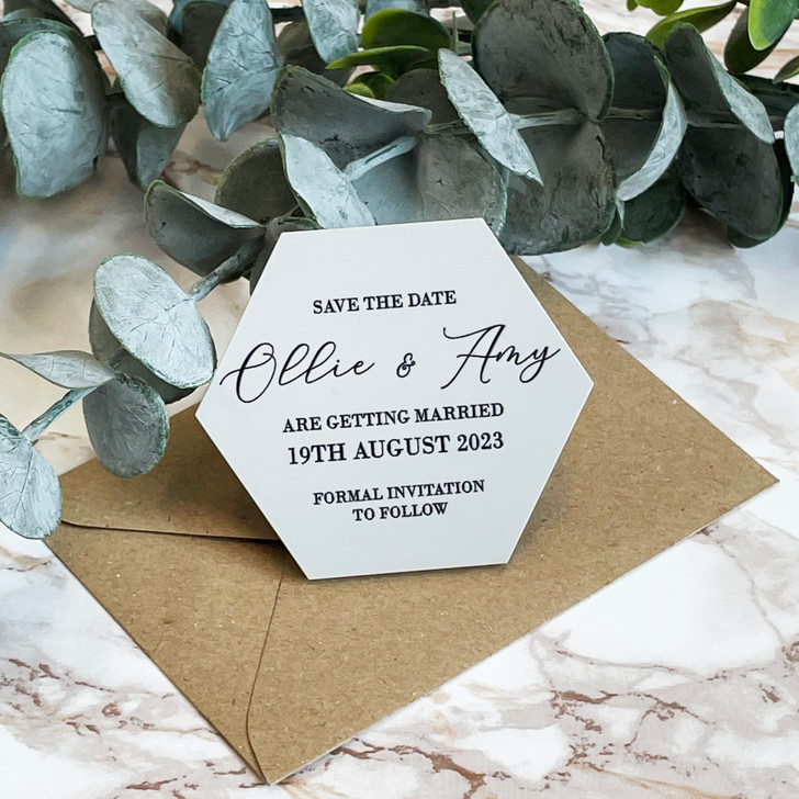 Luxury Acrylic Save the Date Hexagon Magnets With Envelopes