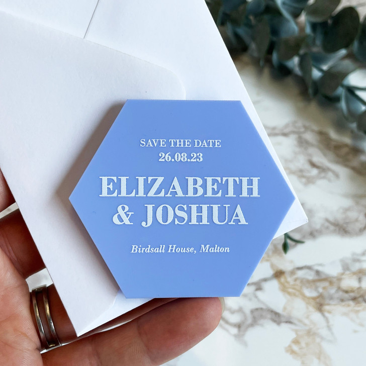 Simple Elegant Hexagon Save the Date Magnets