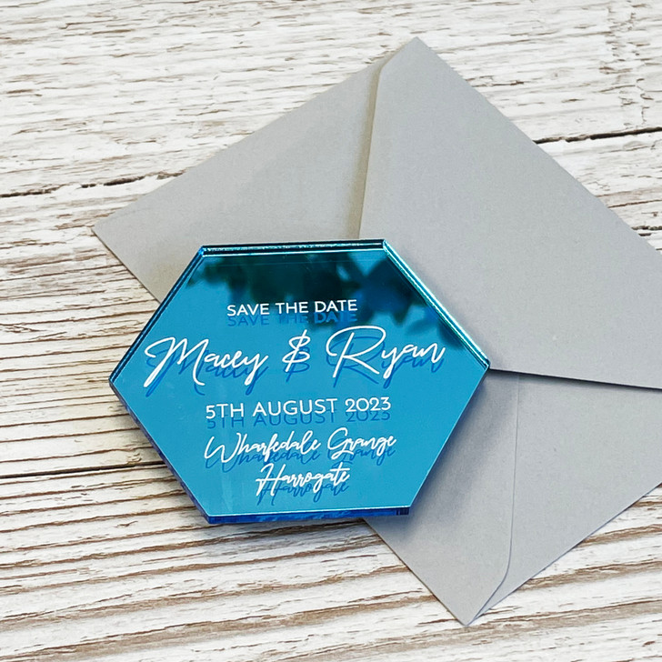 Modern Luxury Hexagon Save the Date Wedding Announcement Magnets
