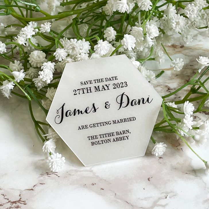 Hexagon Save the Date Magnets for Wedding Date Announcement