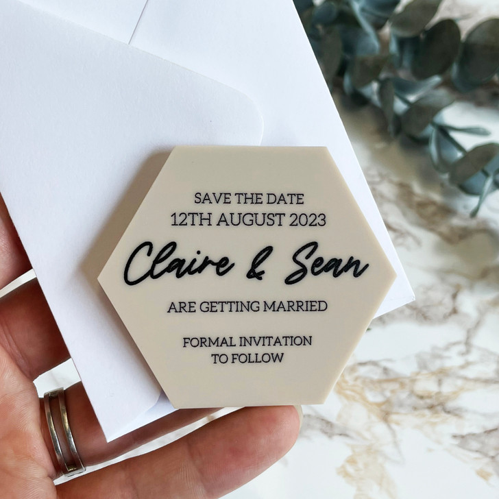Luxury Hexagon Wedding Stationery Save the Date Magnets