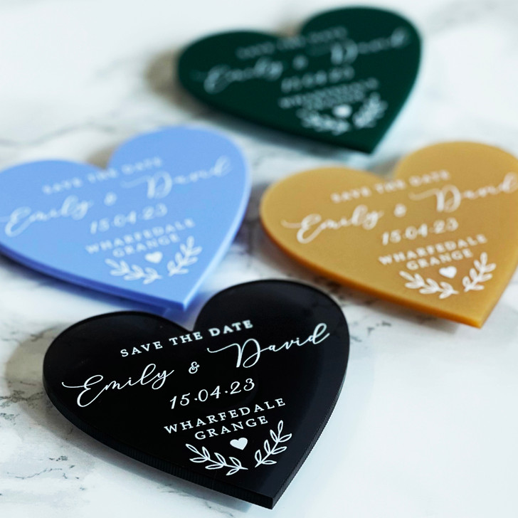Luxury Wedding Save the Date Heart Magnets