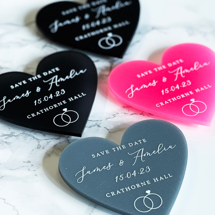 Modern Wedding Save the Date Heart Magnets