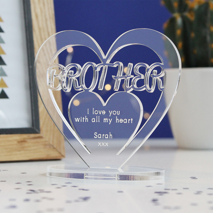 BROTHER Personalised Birthday HEART Plaque Gift For Him Keepsake Ornament Christmas Present