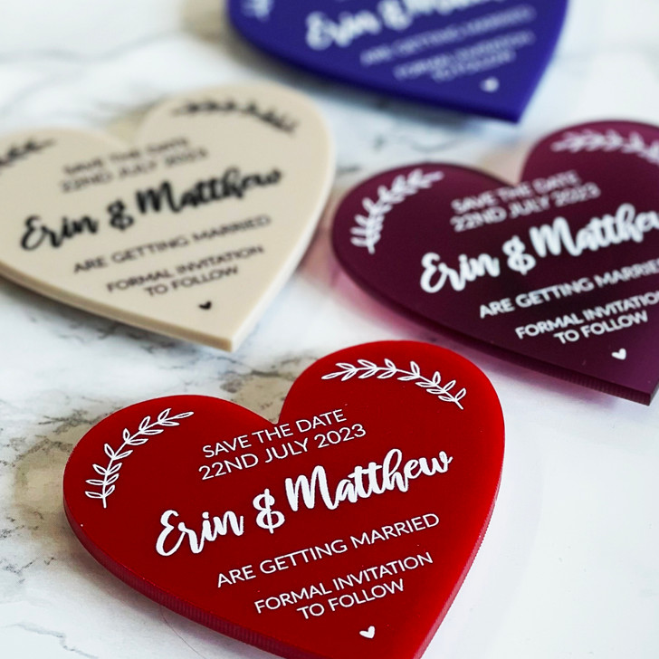 Custom Save the Date Heart Magnets for Wedding Announcement