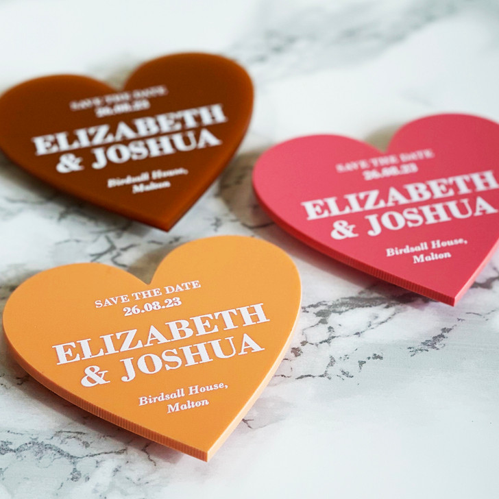 Simple Elegant Save the Date Heart Magnets