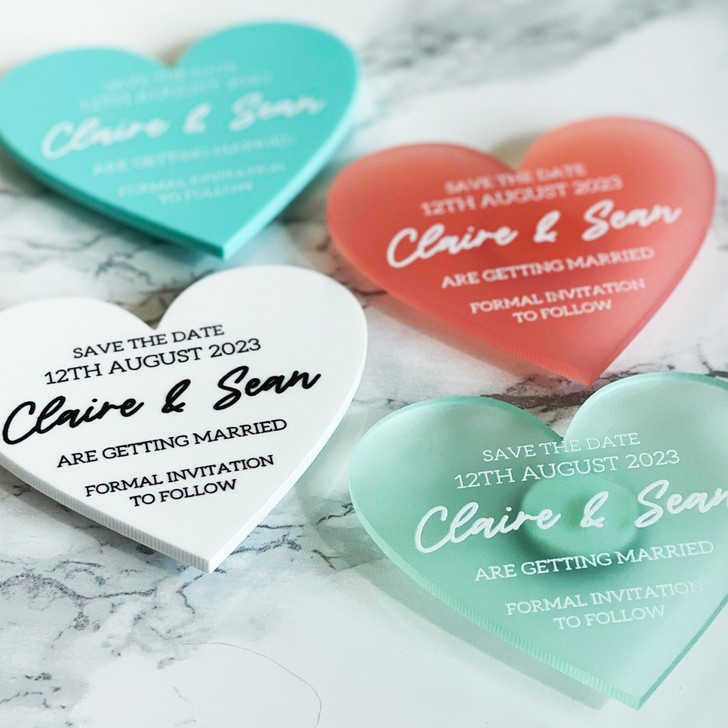 Luxury Save the Date Heart Magnets
