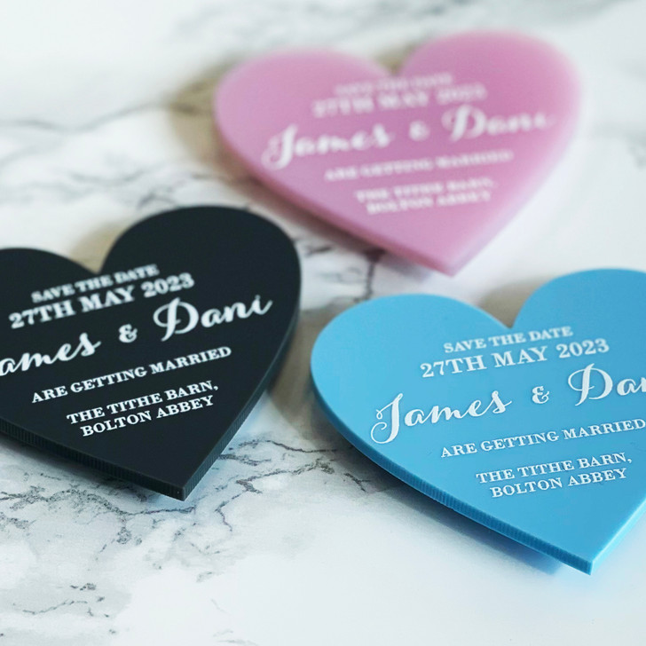 Beautiful Wedding Announcement Save the Date Heart Magnets