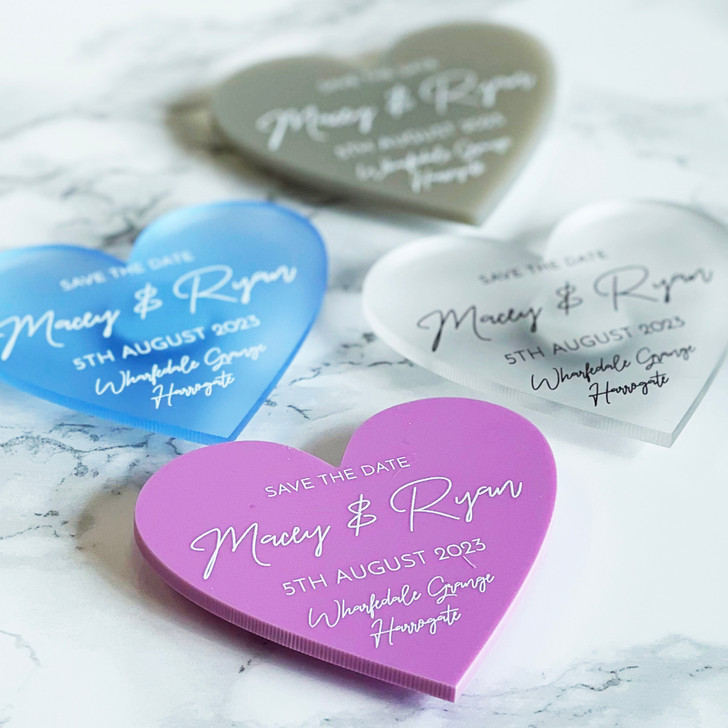 Modern Acrylic Heart Save the Date Magnets