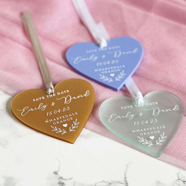 Luxury Save the Date Heart Tag Tied With Ribbon