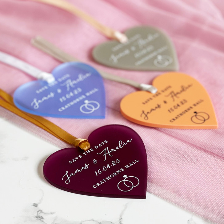Simple Elegant Save the Date Hanging Acrylic Heart Tags