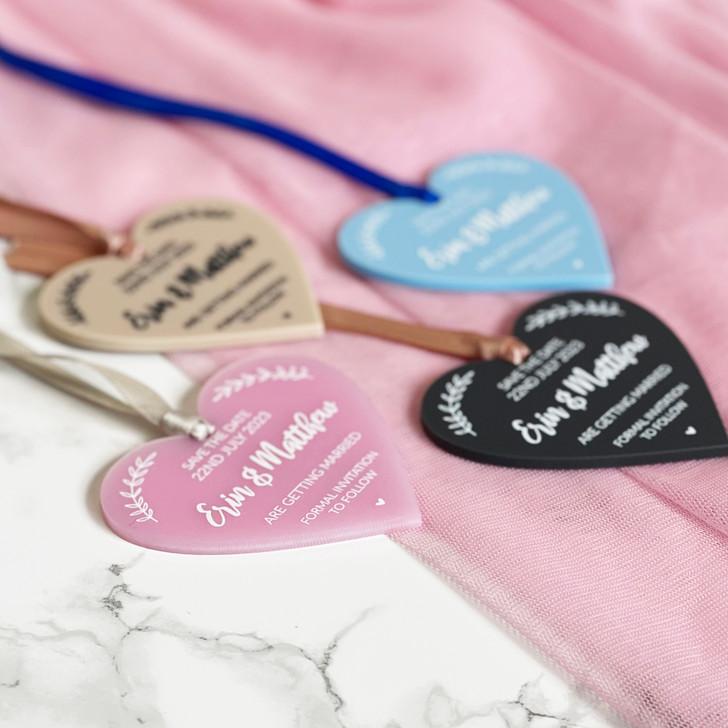 Custom Save the Date Acrylic Heart Tags