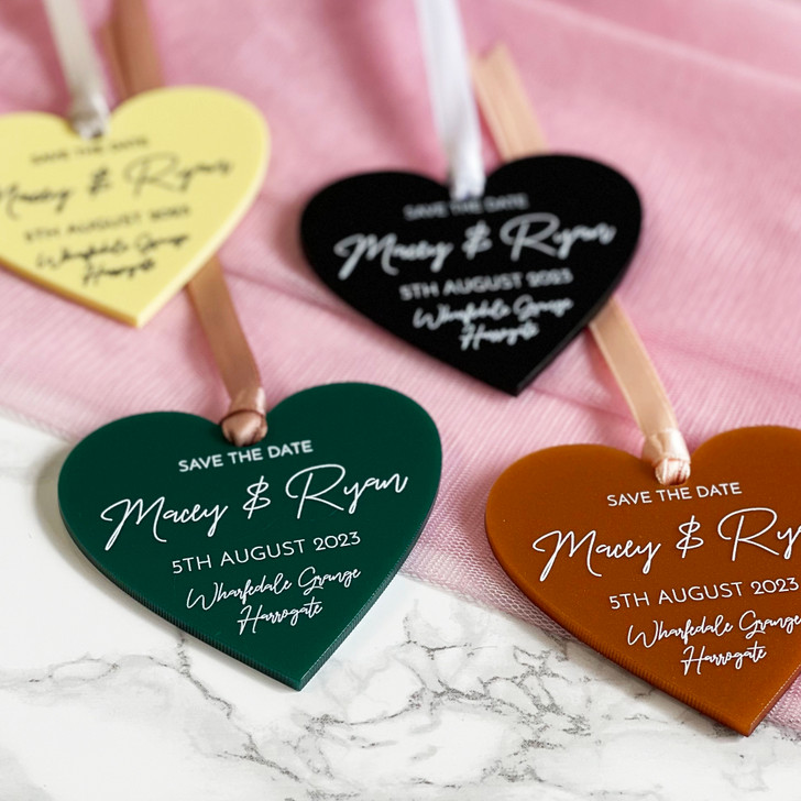 Luxury Chic Save the Date Wedding Heart Tags