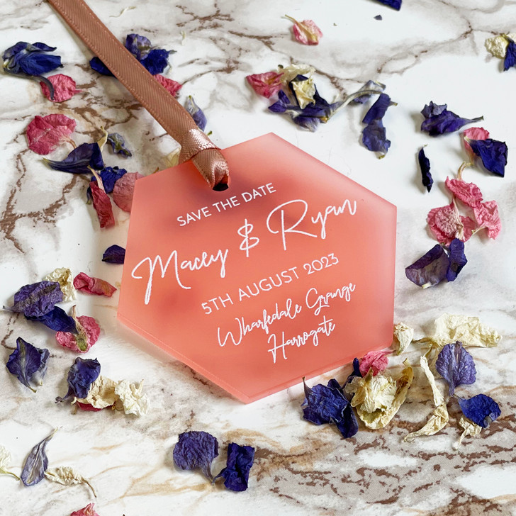 Modern Luxury Hexagon Save the Date Wedding Announcement Tags