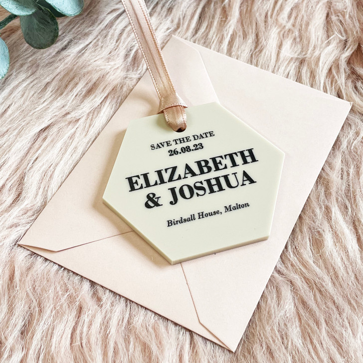 Simple Elegant Hexagon Save the Date Hanging Tags