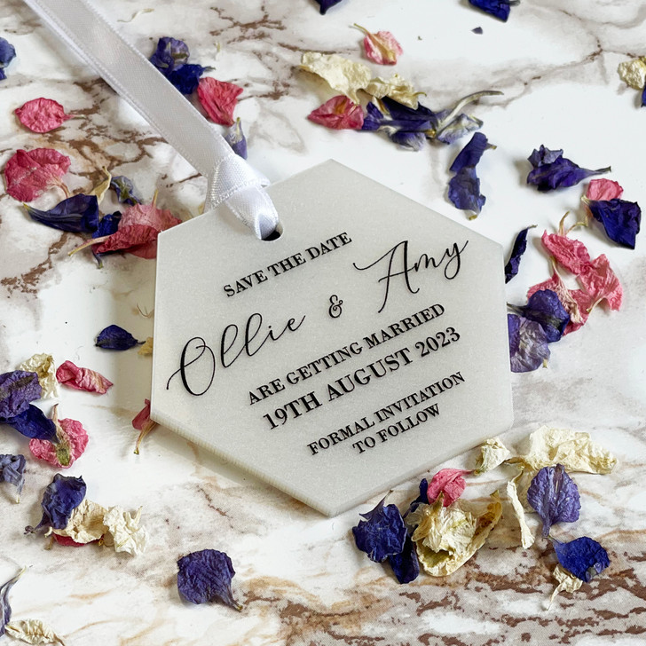 Luxury Acrylic Save the Date Hexagon Tags With Envelopes