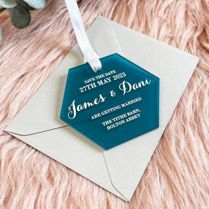 Hexagon Save the Date Tags for Wedding Date Announcement