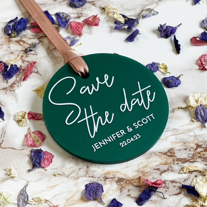 Modern Acrylic Circle Save the Date Tags