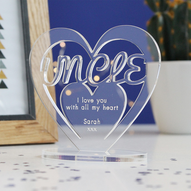 UNCLE Personalised Birthday HEART Plaque Gift For Him Keepsake Ornament Christmas Present
