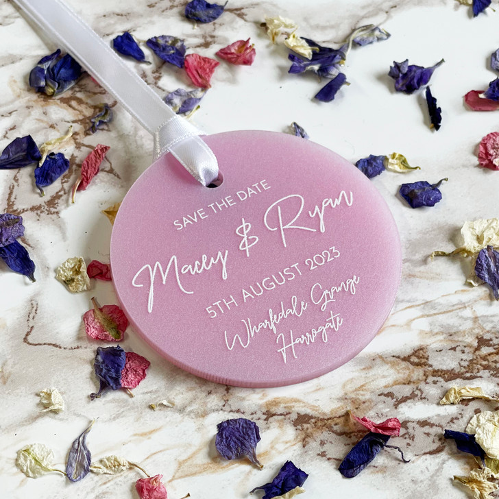 Luxury Acrylic Circle Save the Date Tags