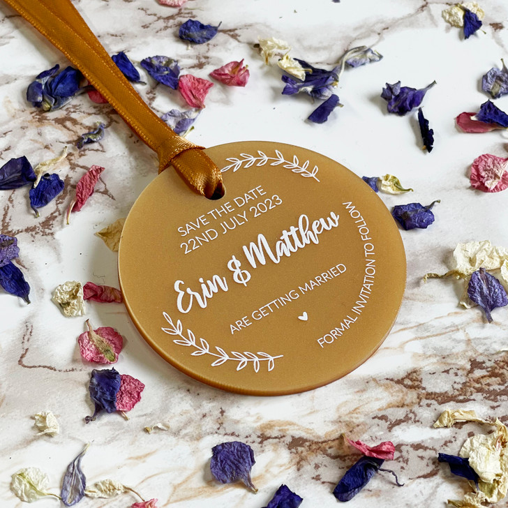 Save the Date Acrylic Wedding Announcement Tags