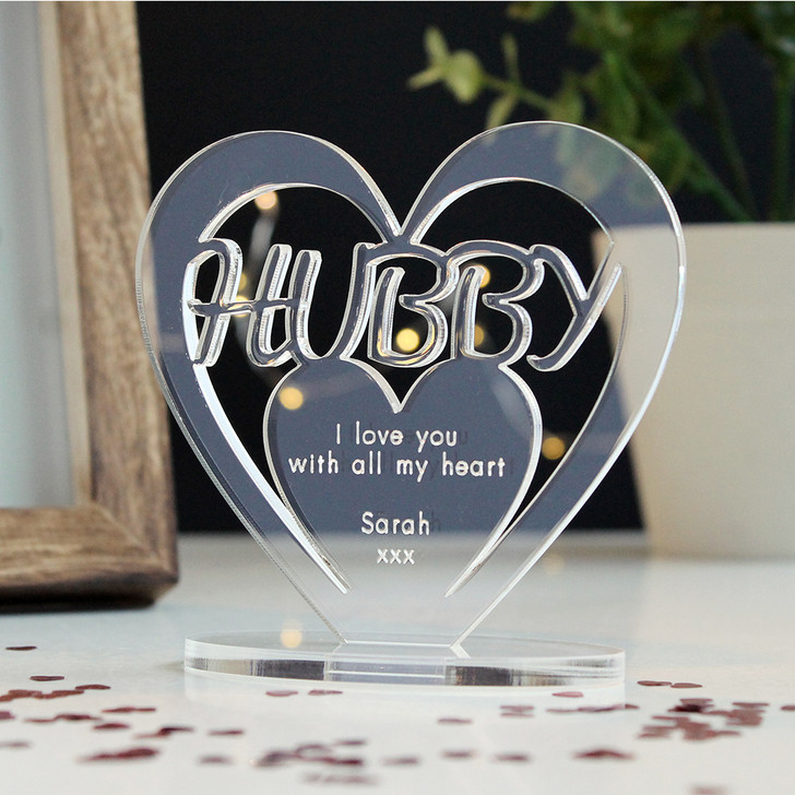 HUBBY Personalised Birthday HEART Plaque Gift For Him Keepsake Ornament Christmas Present