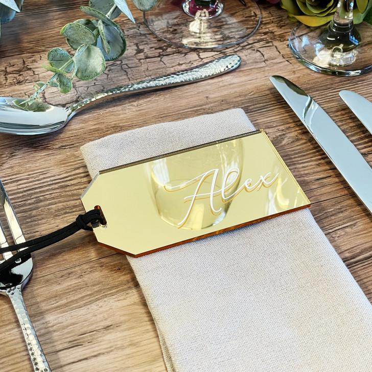 Luxury Name Place Acrylic Luggage Tag Wedding Favours