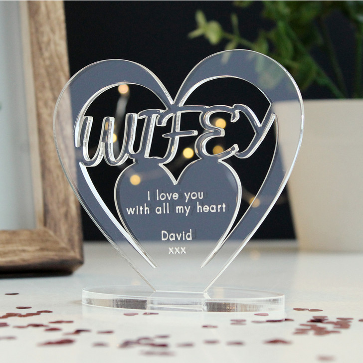 WIFEY Personalised Birthday HEART Plaque Gift For Her Keepsake Ornament Christmas Present