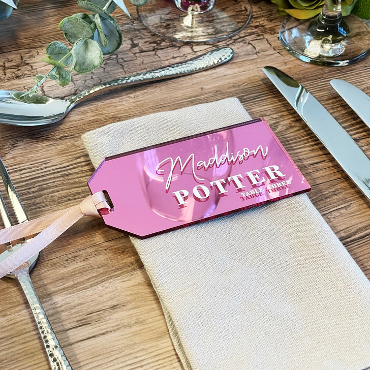 Luxury Luggage Tag Name Place Wedding Favours