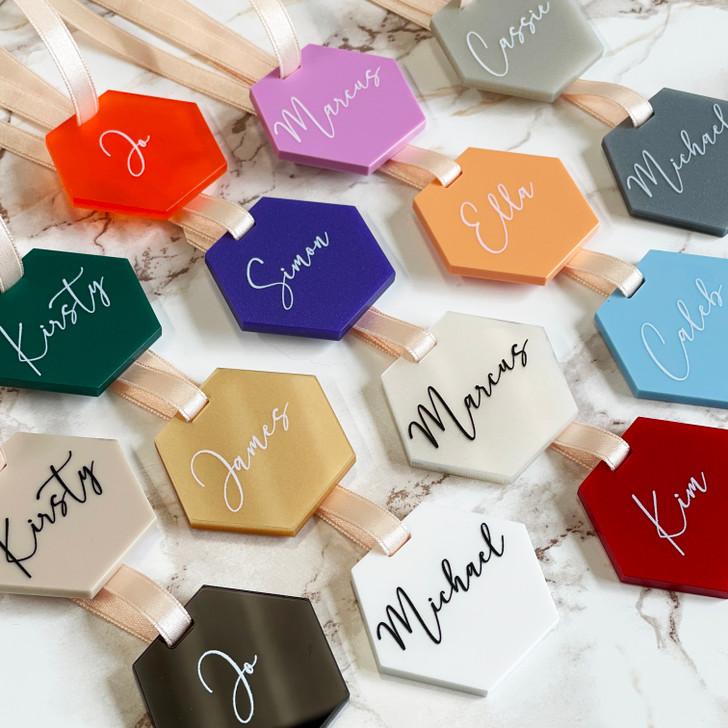 Luxury Personalised Acrylic Hexagon Wedding Favour Tags