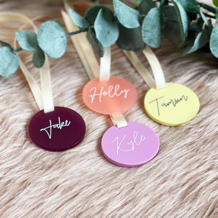 Luxury Personalised Acrylic Circle Wedding Favour Tags
