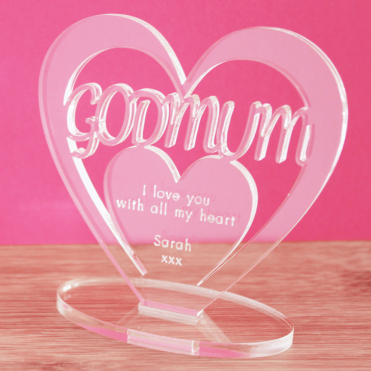 GODMUM Personalised Birthday HEART Plaque Gift For Her Keepsake Ornament Christmas Present