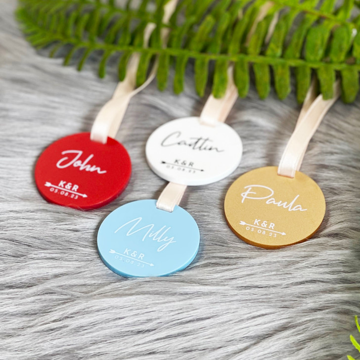 Initials & Date Personalised Acrylic Wedding Favour Charms